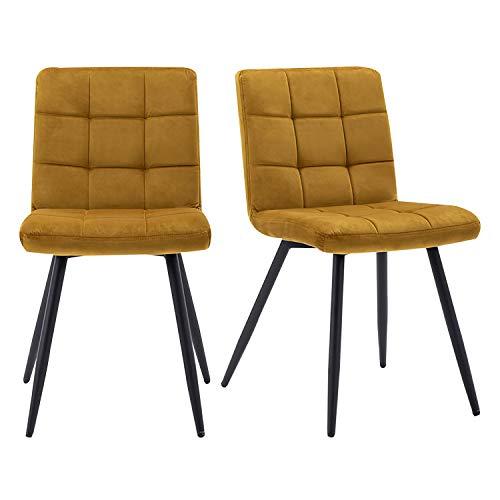 HNNHOME® - Juego de 2 sillas Cubana tapizadas con terciopelo suave y patas fuertes de metal negro para cocina, comedor, salón, recepción, pub o restaurante