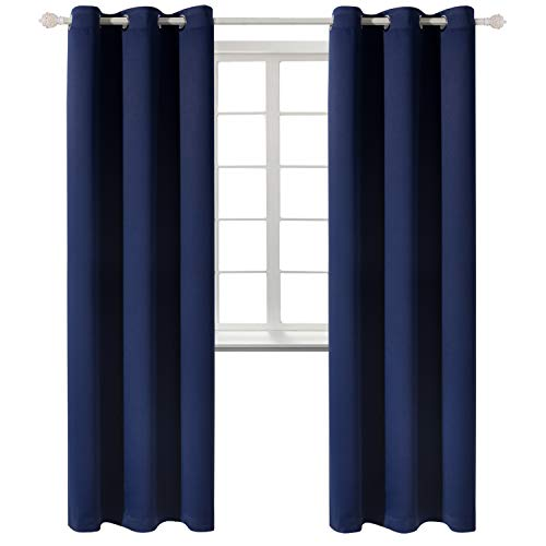 BGment Blackout Curtains for Living Room - Grommet Thermal Insulated Room Darkening Energy Saving Curtains for Bedroom, Set of 2 Panels (42 x 84 Inch, Navy Blue)