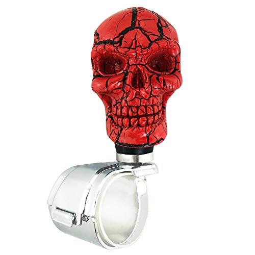 Abfer Red Steering Wheel Spinner Knob Car Power Assist Handle Helper Brodie Suicide Knobs with Black Pattern Fit Most Vehicles