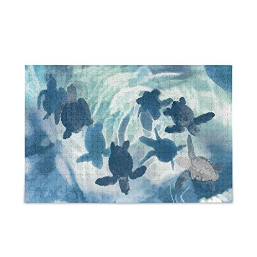 Puzzle 500 Piezas/Puzzle 1000 Piezas, Rompecabezas de Tortuga Marina de Acuarela para Adultos, 500 Piezas, Juegos de Rompecabezas educativos, Juguetes para familias, Adolescentes