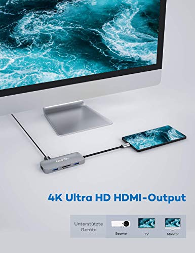 HooToo USB C Hub 8 in 1 Premium Aluminium 100W PD Ladeanschluss,4K HDMI,1000 Mbps,RJ45 Ethernet,SD/TF Kartenleser,2 USB 3.0 und 1 USB 2.0 für iPad Pro MacBook Air Pro Notebooks Tablets USB C und mehr