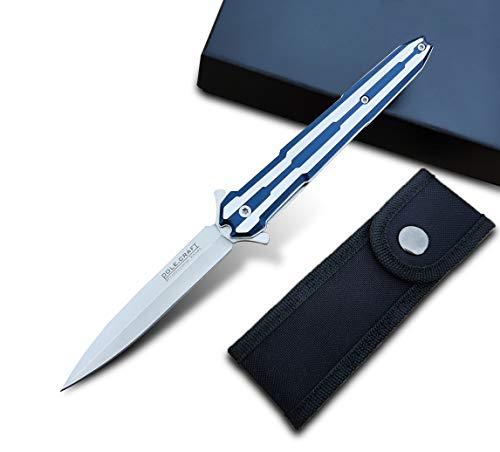 Folding Knife Tactical Pocket Knife Survival- Fast Open Folding Knife Pocket - Folding Pocket Knife Assisted Opening - 7CR13Mov Steel 58HRC - for Men Work Outdoor Adventure Hunting (Blue)