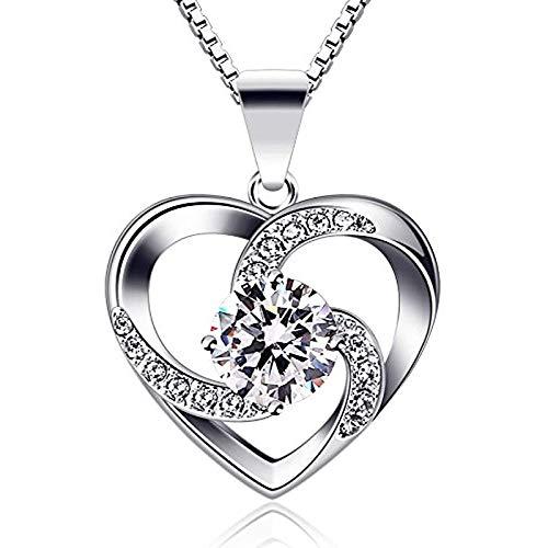 Faptuo Ciclón Collar de Mujer 925 Sterling Silver Pendant Love es la Felicidad Joyas Cubic Zirconia 45 cm Longitud de la Cadena Regalo a Las Mujeres