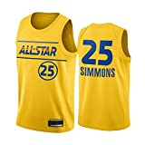 PQMW 2021 All-Star James Team Jersey 76er # 25 Simmons Basketball Jersey para Hombres, Juventud, Swingman, Transpirable y Resistente al desgaste, L (75~85kg)
