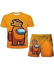 Aatensou Among Us T-shirt met 3D-print, korte mouwen, T-shirt + broek, 2-delig, cartoon zomer pyjama set