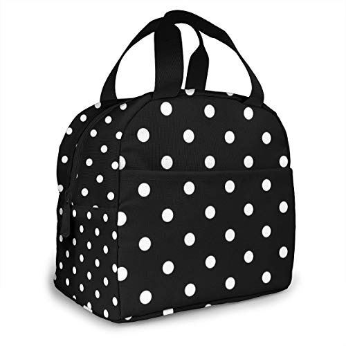 Black And White Polka Dot Portable Insulated Lunch Tote Bag Reusable Lunch Box For Men, Women And Kids