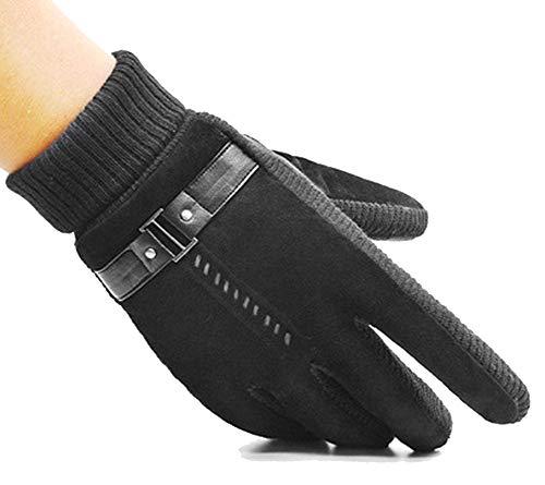 miwaimao Butterme Herren-Handschuhe aus echtem Schweinsleder, Winter, weich, warm, Fleece, mit rutschfester Handflächen-Schnalle, elastische Manschette, Schwarz, Schwarz