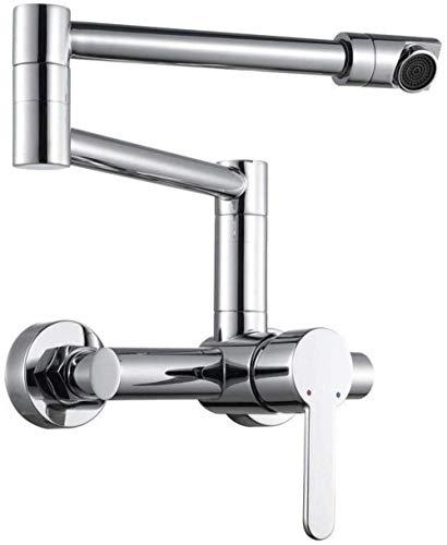 Kraan aan de muur gemonteerde badkamer kranen 360 ° draaibaar messing badkamer wastafel kraan mixer inbouw-gemonteerd bad tik keuken wastafel opvouwbare kraan schommel kraanplaat chroom