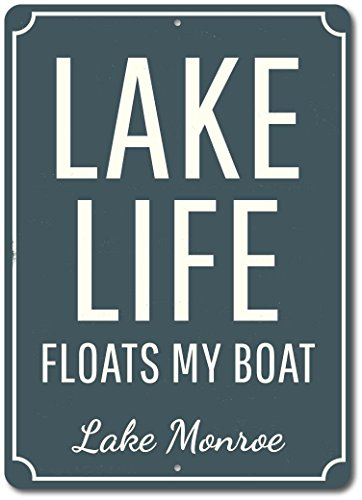 SIGNCHAT Custom Lake Life Sign Floats My Boat Lake Lover Saying Plaque Decor Metal Poster Wall Art Decor Tin Sign 8X12 Inches