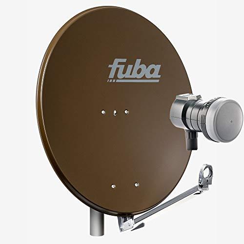 Fuba 1 Teilnehmer Sat Anlage DAL 801 B | Sat Komplettanlage mit Fuba DAL 800 B Alu Sat-Schüssel/Sat-Spiegel braun + Fuba DEK 117 Single LNB für 1 Receiver/Teilnehmer (HDTV-, 4K- und 3D-kompatibel)