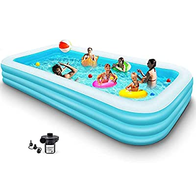 "Sokiss Inflatable Pool Swimming Pool Above The Ground | Full-Sized Inflatable Pools Rectangular Hard Plastic Installed Outdoor Backyard Blow up Pool for Adults Kids Family (120"" X 68"" X 24"", Blue)"
