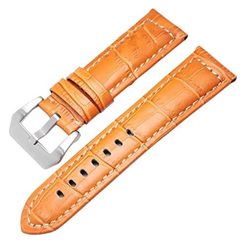 Lzpzz Correas de reloj de cuero para hombre, correa gruesa, 22 mm, 24 mm, color marrón y negro (color: 22 mm, tamaño: hebilla de plata naranja)