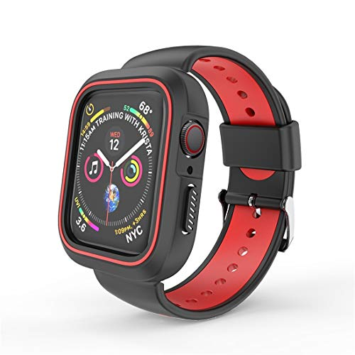 N/A Sports Watch Band Replacement Strap Zwei Farbe Conjoined Sport Armband Uhr-Kasten for Apple-Uhr-Serie 3 & 2 & 1 38mm (schwarz) (Color : Red)