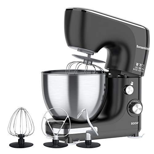 Bonsenkitchen Powerful Stand Mixer, 5.5 QT Large Capacity Dough Mixer with 11 Speed Control System, 800W Tilt-Head Electric Food Mixer with Dough Hook, Wire Whip & Beater, Pouring Shield-BZ-US-KM8001
