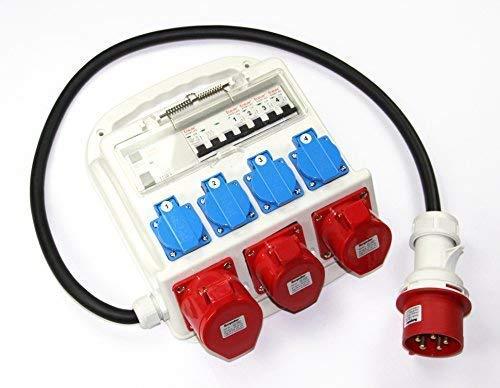 Stromverteiler CEE 32A 400V 4 x 230V 2 x 16A 1 x 32A FI-Absicherung Baustromverteiler