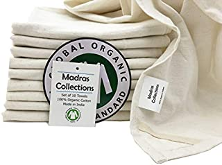 Madras Collections ORGANIC cotton Kitchen Vintage Flour Sack Kitchen Dish Towel, Commercial Restaurant Grade, Kitchen towels, (Creamy White, 28x28 Set of 10 Towels)