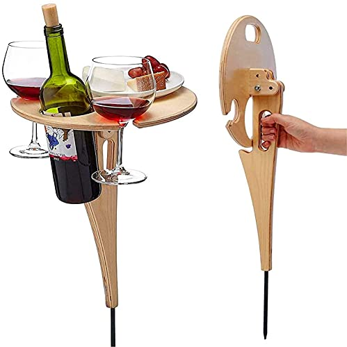 Outdoor Folding Wine Table,2021 New Portable Mini Wooden Picnic Table, Wine Glass Rack,Wine Gifts for Wine Lovers,Collapsible Table for Outdoors,Garden,Travel