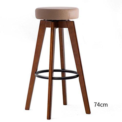 Rollsnownow Anneau de fer Brown Coussin Brun Cadre en bois Haute 74cm Chaise de Bar Haute Tabouret Moderne Simplicité Chaise Rotative