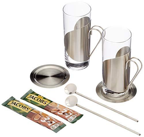 Geschenk Set Kaffee 3 in 1 mit je 2 Gläsern, Untersetzern und Trinkhalmlöffeln