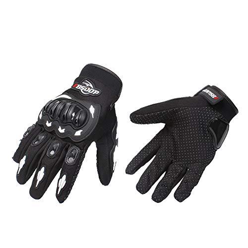 KKmoon Guantes de moto, pantalla táctil, guantes de dedo completo para carreras, moto, ciclismo, motocross, montaña, transpirables, color blanco, talla M
