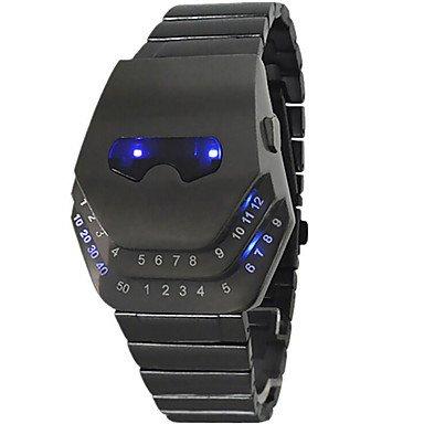 Fenkoo Da uomo Sport orologio digitale LED Cinturino in Acciaio Inox Orologio Da Polso Nero, nero