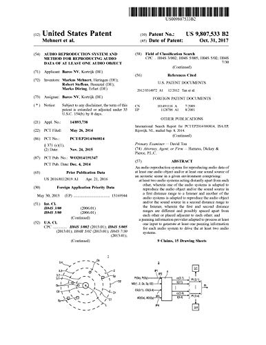 Audio reproduction system and method for reproducing audio data of at least one audio object: United States Patent 9807533 (English Edition)