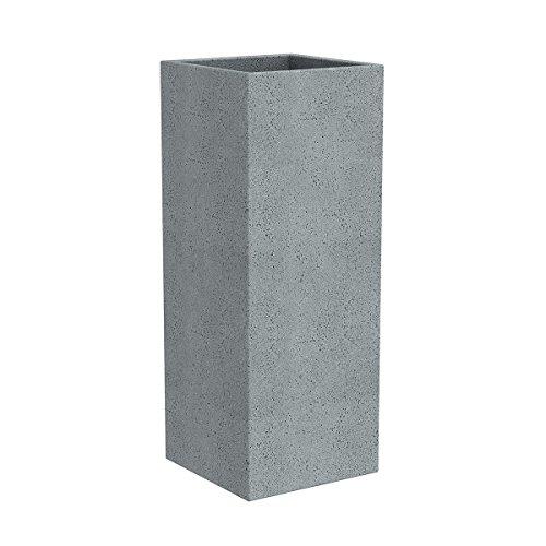 Scheurich C-Cube High, Hochgefäß aus Kunststoff, Stony Grey, 26 cm lang, 26 cm breit, 70 cm hoch, 9 l Vol.
