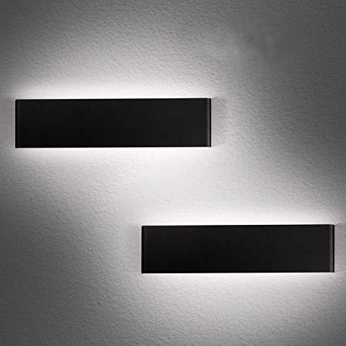 LEDMO 2 Pezzi Applique da Parete Interno Moderno 36CM LED Lampada da Parete 6000K in Alluminio Nero 12W Lampada Muro