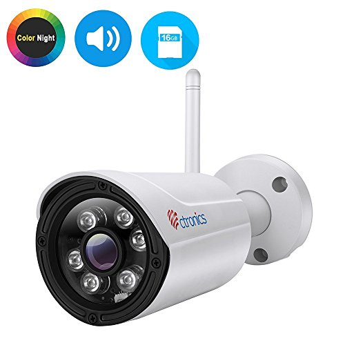 Ctronics (CNV) Color Night Vision IP Camera, WiFi Wireless Security Camera Surveillance Bullet Camera IP65,Audio,HD 720P,30M IR,Motion Detect,Email Alert,PC,Phone,Tablet,CMS Remote,16G SD Included