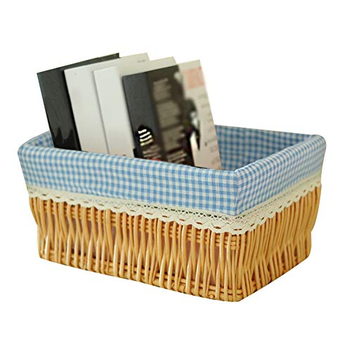 Heding Storage Basket Wicker Rectangle Book Dirty Clothes Cotton Lining Hand Weaving Desktop Hotels, 4 Kinds Of Styles (Color : A, Size : 39X29X19CM)
