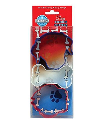 R&M International 5158 - Juego de cortadores de galletas para perros, color azul, blanco y rojo