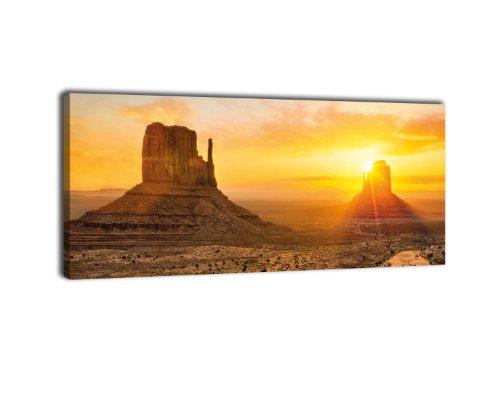 wandmotiv24 Leinwandbild Panorama Nr. 231 Monument Valley 100x40cm, Keilrahmenbild, Bild auf Leinwand, USA Wüste Canyon
