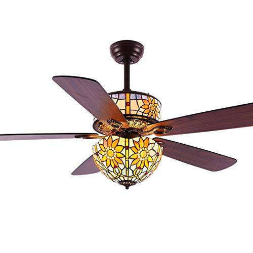 Ventilador de techo estilo Tiffany con luz LED, 3 luces, 5 aspas de madera, candelabro remoto de 3 velocidades, lámpara de techo LED de montaje empotrado para sala de estar, dormitorio, 220 V Good
