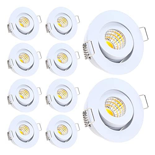 10 Pack IP65 Mini Empotrable LED Impermeable Dimmable Dimpirable Downlight AC90-260V / DC12V LED LED Luz de Techo LED Luces de Techo (Color : White, Size : 3200K 3W Dimmale)