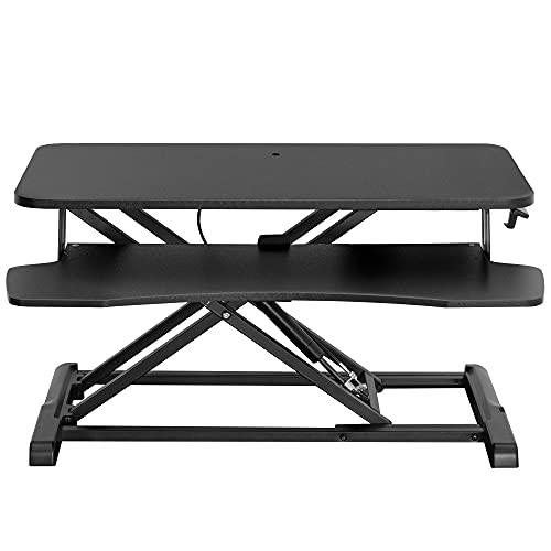 VIVO Stehender 81,3 cm Schreibtisch-Konverter, höhenverstellbare Erhöhung, Sitz zum Stehen, Dual-Monitor und Laptop-Workstation mit breiter Tastaturablage, schwarz, DESK-V000K