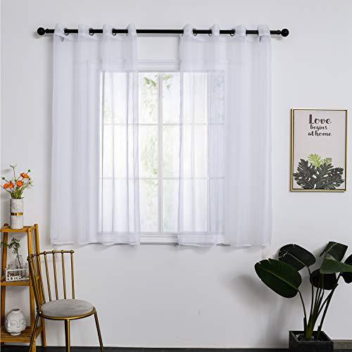 SOMFIUI Vorhang Gardinen Voile gardinenschals Transparent Store Wohnzimmer Gardinenschals 2 Stücke 145x140 cm Weiß