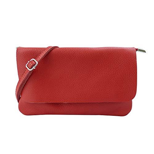 SH Leder Echtleder Umhängetasche Clutch kleine Tasche Abendtasche 24,50x15cm Ely G149 (Rot)