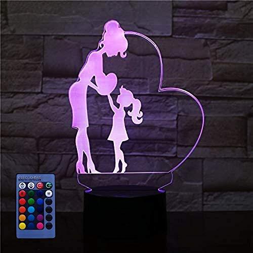 3D Mutter und Tochter Nachtlicht USB-betriebene Fernbedienung Touch-Schalter Dekor Tisch Optische Täuschung Lampen 7/16 Farbwechsel LED Tischlampe Weihnachten Geburtstag Kinder Kinder Spielzeug Gesc