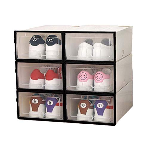GUMEI 6 uds Caja de plástico para Zapatos, apilable, Plegable, Organizador de Zapatos, cajón, Caja de Almacenamiento con Tapa abatible, Puerta Transparente, señoras, Hombres, 34x24x14cm