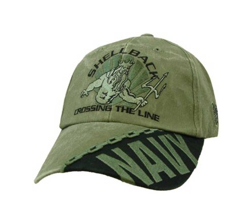 """NEW Navy Shellback """"Crossing the Line"""" OD Green Low Profile Cap"""