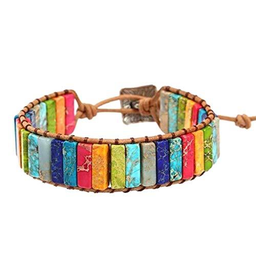 Lomire Bunten Naturstein gewebt Lederarmband 7 einstellbare Chakra handgefertigte Lederchakra Armband Jasper Wrap ethnischen Perlen Armband Schmuck Beste Männer Frauen