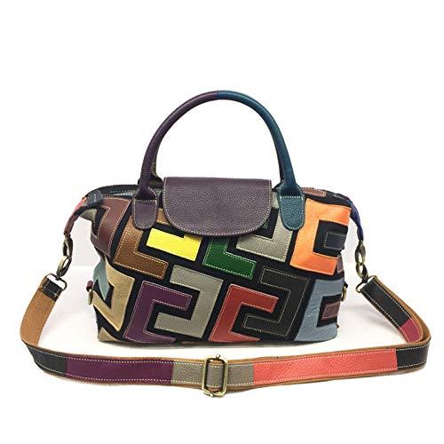 Diminutive Lemon Fashion Casual Leather Ladies Shoulder Bag, Geometric Pattern Multicolor Stitching Messenger Bag, Large-Capacity Handbag