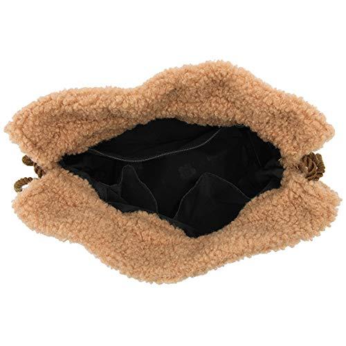 (マリークワント)MARYQUANTボアデイジー刺繍巾着ポーチ化粧ポーチポーチ巾着バッグ小物入れブラックアイボリーブラウンボアモコモコ秋冬化粧メイクコスメ(ブラウン)
