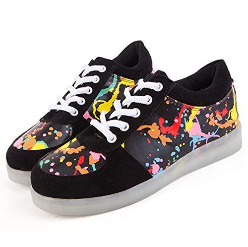 WXBYDX Blinkende Schuhe,Leuchtende Schuhe, 7 Farben LED Schuhe USB Aufladen Leuchtschuhe Licht Blinkschuhe Sport Sneaker Light Up Turnschuhe Damen Herren Shoes Größe(35-44) black-39