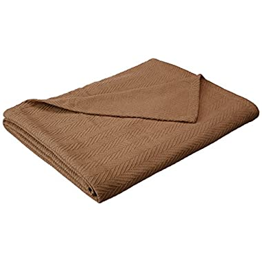 Superior 100% Cotton Thermal Blanket, Soft and Breathable Cotton for All Seasons, Bed Blanket and Oversized Throw Blanket with Metro Herringbone Weave Pattern - King Size, Taupe