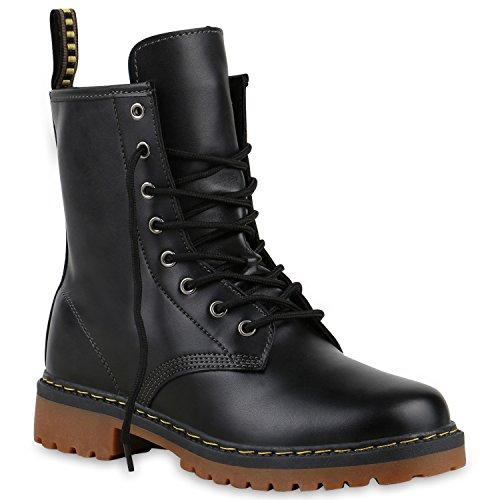 Derbe Damen Stiefeletten Worker Boots Profilsohle Camouflage Stiefel Schnür Animal Print Schuhe...