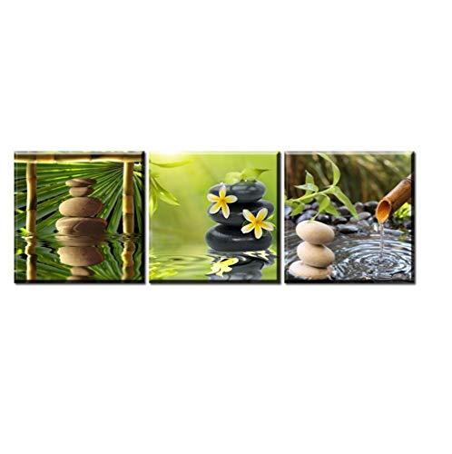 MXmama Pintura de Lienzo de 3 Piezas/Flor de Piedra Agua Lienzo de bambu Zen/Cuadro de Arte de Pared/Pintura de Lienzo/Decoracion de Pared Moderna -50X50cmx3 sin Marco