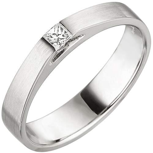 Jobo Damen Ring 950 Platin matt 1 Diamant Princess Schliff 0,07 ct. Platinring Größe 54