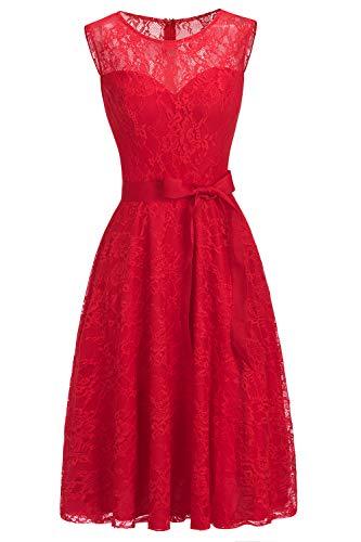 MisShow Damen Übergröße Abendkleid Spitzen Brautjungfernkleider Rund Ausschnitt Cocktailkleider Knielang Rot 14W