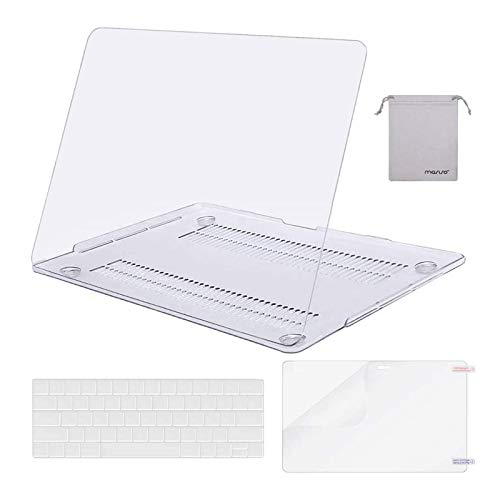 MOSISO Compatible with MacBook Pro 13 inch Case 2016-2020 Release A2338 M1 A2289 A2251 A2159 A1989 A1706 A1708, Plastic Hard Shell Case&Keyboard Cover Skin&Screen Protector&Storage Bag, Crystal Clear